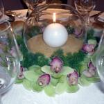 Centrotavola - candela nell'ampolla di vetro